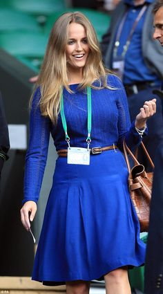 True blue: Kim Sears arrives to watch the match