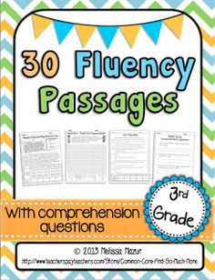 Reading Fluency Passages - Fiction and Nonfiction - A comprehension test for every passage is included! $