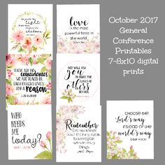 I am so excited to bring these October 2017 LDS conference printables to you today for FREE!! These are the 8x10 version. The 12x12 ve...