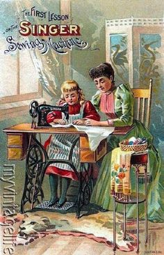 $8.75 - Singer Sewing Machine Vintage Mother Daughter Sewing Quilting Fabric Block 5X7 #ebay #Home & Garden