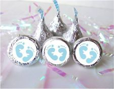 stickers for hershey kisses for boy baby shower | ... Boy Blue Footprints Feet Baby Shower Favors Candy Stickers fits Kisses