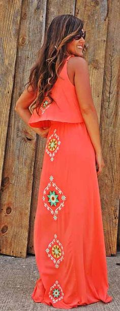 Embroidered  Maxi - I love the color and everything about this dress so cute.