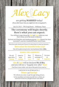 Wedding Ceremony Program - printable or shipped to you! Totally customizable colors and layout