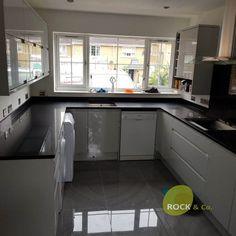 Nero Stella - Cheshunt, Herts - Rock and Co Granite Ltd L Shaped Kitchen, Granite, Kitchen Cabinets, Home Decor, L Shape Kitchen, Decoration Home, Room Decor, Granite Counters, Cabinets