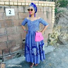 Blue Elegant Shweshwe Dresses for outing 2019 Sotho Traditional Dresses, South African Traditional Dresses, Traditional Fashion, Traditional Outfits, African Dresses For Women, African Print Dresses, African Print Fashion, African Fashion Dresses, African Prints