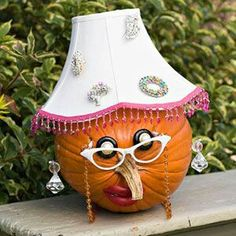 Halloween Decorated Pumpkin: vintage lady pumpkin, lamp shade hat