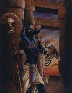 Anubis was a funerary god. His task came to be holding the scales on which the heart was weighed. If the heart was lighter than a feather, the dead would be led by Anubis to Osiris. If heavier, the soul would be destroyed.
