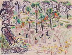 COLLECTION OF MISSISSIPPI MUSEUM OF ART, JACKSON. PURCHASE. 1967.034. COPYRIGHT © ESTATE OF WALTER ANDERSON. - Walter Inglis Anderson, American, 1903-1965, Horn Island-Fall, n.d., watercolor on paper, 8 ½ x 11 inches