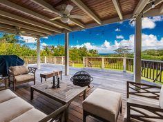 2nd floor covered lanai | Hawaiian Style Plantation Home with Guest House on Kalihiwai Ridge ...