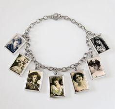 Dangling 7 Frame Picture Charm Settings Bracelet Kit Double Sided Mini Rectangles
