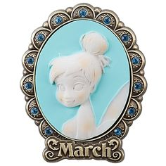 Tinker Bell Cameo Birthstone Pin -- March