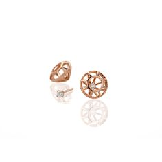 Diamond Cage Earrings With Diamonds Rose Gold   Lestie Lee   Wolf & Badger
