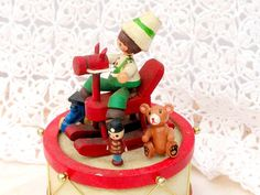 Vintage Christmas Musicbox Wood Rocking Horse by RustbeltTreasures, $22.00
