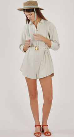 Alice McCall Ice Dream Glow Playsuit with the Clyde Natural Straw Gambler Hat