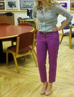purple pants and striped shirt Purple Pants, What I Wore, Lifestyle Blog, Capri Pants, Women's Fashion, Couture, Money, Stylish, City