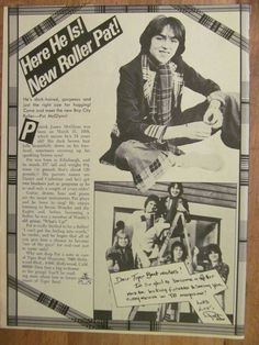 Bay City Rollers, Pat McGlynn, Full Page Vintage Clipping