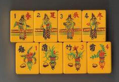 Chinese Bakelite -two tone navy, Mah Jong Flower tiles