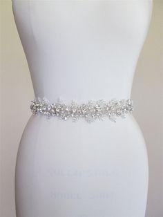 Bridal crystal belt sash Beaded bridal sash by SabinaKWdesign