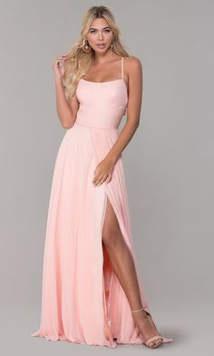 Shop long chiffon formal dresses in blush pink at Simply Dresses. Dave and Johnny designer dresses, junior-size dresses for prom, and long pink formal dresses with back cut outs and square necklines. Pink Ball Dresses, Light Pink Formal Dresses, Year 10 Formal Dresses, Long Tight Dresses, Blush Prom Dress, Prom Dresses Long Pink, Pink Evening Dress, Dress Long, Grad Dresses