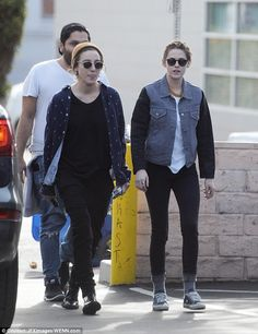 Kristen Stewart keeps things low-key in a denim jacket with Alicia Cargile   Daily Mail Online