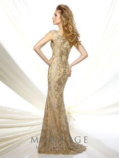 Tip-of-the-shoulder metallic lace and tulle fit and flare gown with slight cap sleeves, bateau neckline, scalloped hem, sweep train. Matching shawl included. Sizes: 4 – 20 Colors: Gold, Mink, Black
