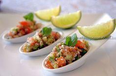 É uma salada de origem libanesa, preparada com trigo para kibe, tomate, pepino e hortelã. Hoje muito popular aqui no Brasil pelo seu delicioso sabor. Leia mais...