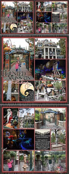 Haunted Mansion Holiday Disney pocket scrapbook page. Nightmare Before Christmas overlay at Disneyland