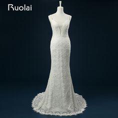 Elegant 2016 Real V-Neck Beaded Straps Mermaid Lace Wedding Dress Vestido de Novia Low Back Ribbon Bridal Wedding Gown ASAFN45 #Affiliate