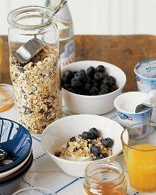 Blueberry-Walnut Muesli.  Serve muesli with yogurt, berries, and a drizzle of honey.
