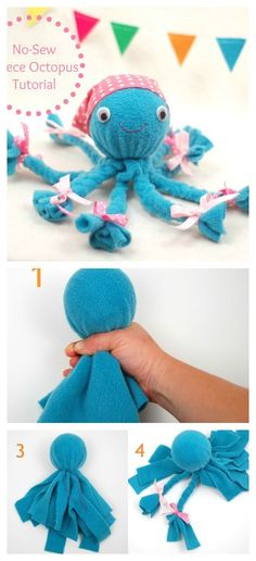 This DIY No-Sew Fleece Octopus Craft is so cute! I think girl will love it. kids crafts DIY No-Sew Fleece Octopus Craft Kids Crafts, Sock Crafts, Cute Crafts, Creative Crafts, Fabric Crafts, Sewing Crafts, Diy And Crafts, Sewing Projects, Arts And Crafts