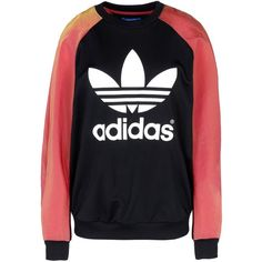 Adidas Originals By Rita Ora Sweatshirt ($109) ❤ liked on Polyvore featuring tops, hoodies, sweatshirts, black, sweat shirts, long sleeve tops, long sleeve sweatshirt, two tone sweatshirt and logo sweatshirts