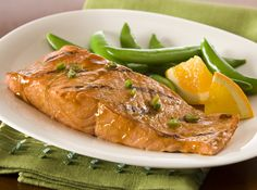 Give salmon a flavorful glaze made of honey, ginger and soy sauce. #Recipe