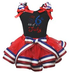 Memorial Day 4th July White Top US USA Flag Trimmed Red Petal Skirt Girl NB-8Y