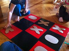 Cardboard Tic-Tac-Toe Board, for a make-your-own game night?