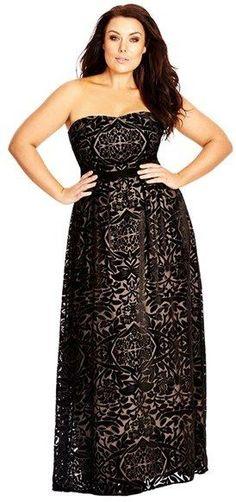 Plus Size Strapless Burnout Velour Maxi Dress