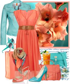 """""""coral & turquoise 2 tone"""" by countrycousin ❤ liked on Polyvore"""