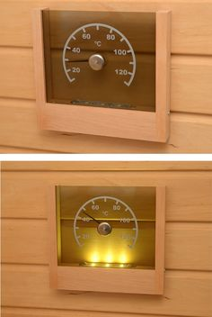 eLahja Sauna Thermometer from Finland - Wood & Acrylic Battery-powered Sauna Thermometer with Automatic, Heat-activated LED Lights Infrarot Sauna, Summer Cabins, Steam Room, Saunas, Diy Tools, Rooms, Smoke, Lights, Finland