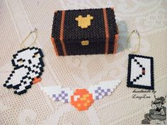 Handmade by Lissy Lou: Harry Potter Golden Snitch Bookmark & Hedwig + Hogwarts Letter Key Chain & Harry's Trunk Box