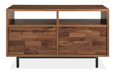 Innes Console Table - 45x14 26h Two-Dor Open Console - Room & Board :: $1600 for Walnut with Natural Steel hardware (could work as a sideboard OR media stand)