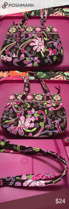 "Vera Bradley little Betsy purple punch NWOT outside has one slip pocket on front. Zip closure. Inside has 6 slip pockets a removable cardboard base. Approx size 12"" W X 8 1/2"" H Vera Bradley Bags Shoulder Bags"