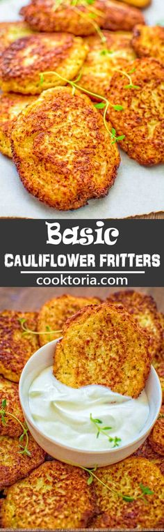 and very tasty, this kid-friendly Basic Cauliflower Fritters recipe is a must-have for any housewife.COMSimple and very tasty, this kid-friendly Basic Cauliflower Fritters recipe is a must-have for any housewife. Baby Food Recipes, Low Carb Recipes, Diet Recipes, Vegetarian Recipes, Cooking Recipes, Healthy Recipes, Whole30 Recipes, Keto Veggie Recipes, Vegetarian Lunch