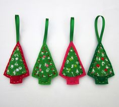 Eco Felt & Vintage Fabric Christmas Tree Ornaments  by lova revolutionary, via Flickr