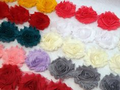 Shabby Flower Trim 30 Solid Color Flowers Rose by sweetiefluhr, $9.99
