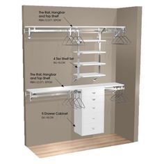 double hang wall closet with shelves and cabinet walmart - Walk In Closet Design Ideas Plans