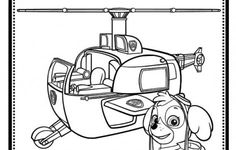 Skye And Helicopter PAW Patrol Coloring Page