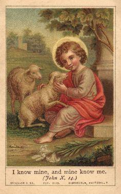 Vintage holy card depicting Child Christ as Good Shepherd