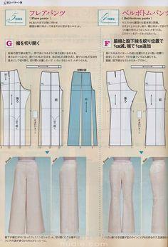 patron pantalon lagen look Japanese Sewing Patterns, Dress Sewing Patterns, Clothing Patterns, Pattern Sewing, Pattern Drafting, Free Pattern, Sewing Pants, Sewing Clothes, Diy Clothes