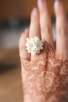This chic handcrafted snow white syringa flower ring is the best gift for any pretty lady!;)  Each little flower was carefully sculpted by me from Thai