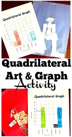 This free quadrilateral art project is a fun way to work on shape recognition and get some graphing practice in. The printable includes shapes and a graph! Teaching Geometry, Teaching Math, Teaching Resources, Teaching Ideas, Math Activities For Kids, Quadrilateral, Was Ist Pinterest, Math Strategies, Math Lessons