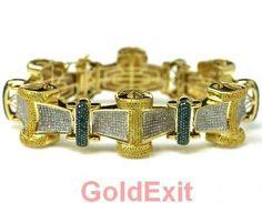10KT GOLD MULTI COLOR HIP HOP DIAMOND BRACELET